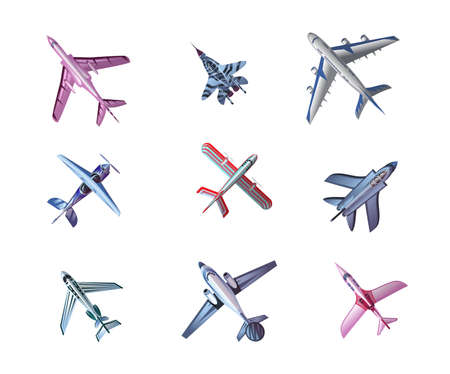 Set of different airplane aircrafts bottom view vector illustration