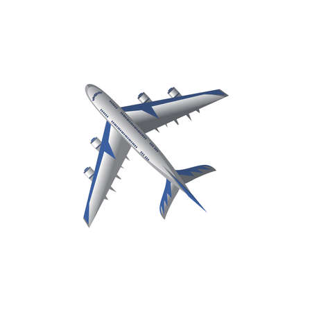 Hand drawn white and blue passenger airplane aircraft bottom view over white background vector illustration. Modern planes variety concept