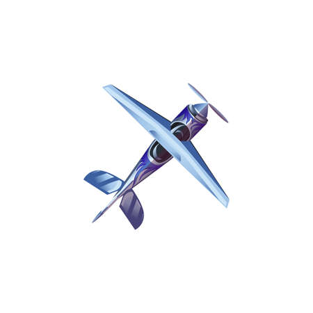 Hand drawn blue industrial airplane aircraft with propeller bottom view over white background vector illustration. Modern planes variety concept