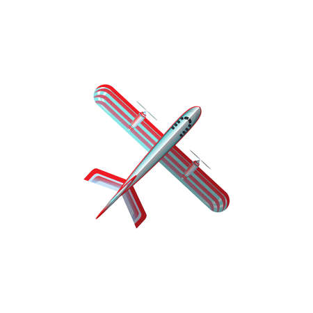 Hand drawn red and silver industrial airplane aircraft bottom view over white background vector illustration. Modern planes variety concept