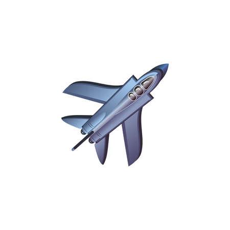 Hand drawn silver blue fighter airplane aircraft over white background vector illustration. Modern planes variety concept