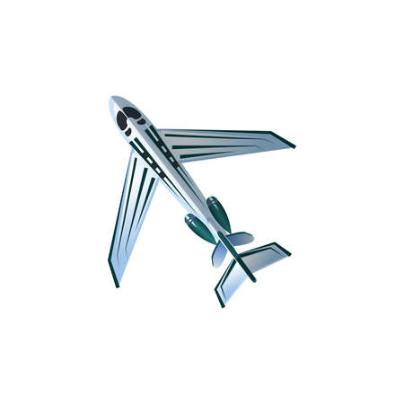Hand drawn silver passenger airplane aircraft with modern design bottom view over white background vector illustration. Modern planes variety concept Иллюстрация