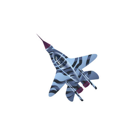 Hand drawn dark blue fighter airplane aircraft bottom view over white background vector illustration. Modern planes variety concept Иллюстрация