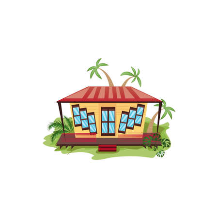 Hand drawn one floored bungalow or house with big windows surrounded by nature in summer over white background vector illustration. Paradise island travel and vacation concept