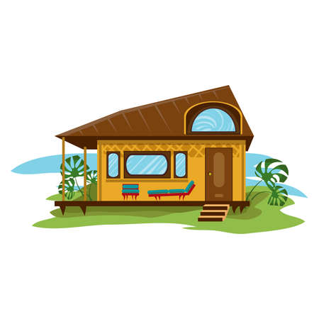 Hand drawn bungalow with big terrace and palms overlooking sea shore over white background vector illustration. Paradise island travel and vacation concept
