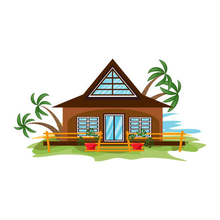 Hand drawn bungalow with big windows and palms surrounded by fence in summer over white background vector illustration. Paradise island travel and vacation concept