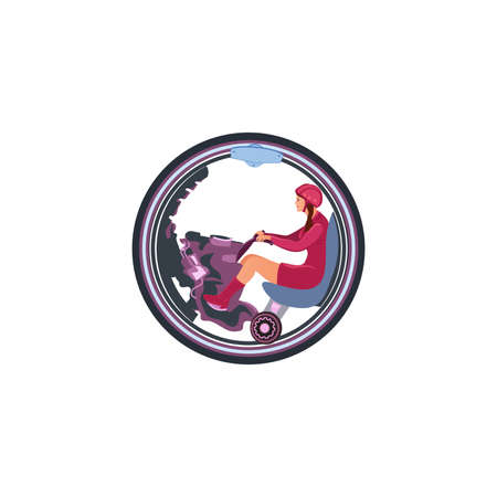 A woman in red clothes and with helmet ride on a one-wheeled motorbike. Isolated vector icon illustration on white background in cartoon style. Иллюстрация