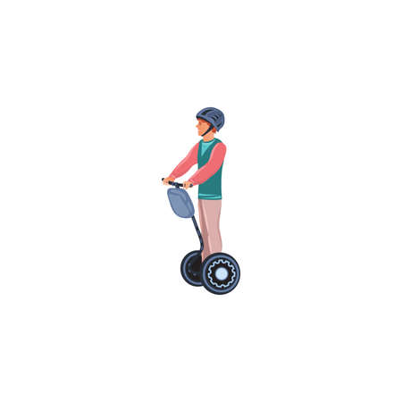 A young man with helmet rides on a self-balancing electric scooter. Isolated vector icon illustration on white background in cartoon style.