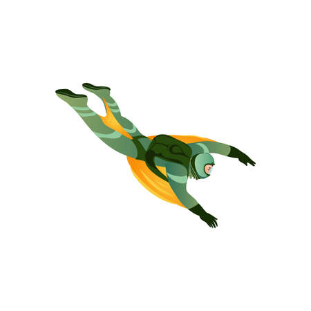 Wingsuit man flying through the air. Professional skydiver. Isolated vector icon illustration on white background in cartoon style.