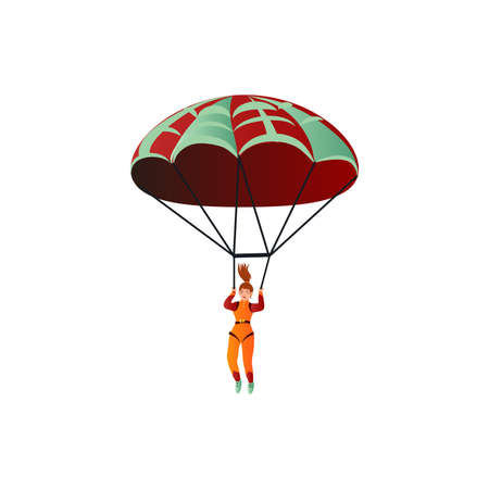 Young happy skydiver in orange suit descends in the sky by parachute. Skydiving concept. Isolated vector icon illustration on white background in cartoon style.