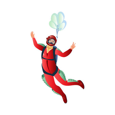 Professional skydiver in the red suit with helmet descends in the sky by parachute and showing peace sign. Isolated vector icon illustration on white background in cartoon style.
