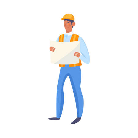 Hand drawn man builder in special blue clothing and helmet standing and looking at plan over white background vector illustration. People builders concept
