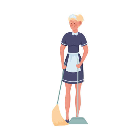 Woman maid standing and sweeping floor vector illustration 일러스트