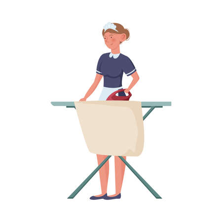 Woman maid in special blue uniform ironing linens vector illustration 일러스트
