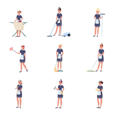 Set of women maids making housekeeping work vector illustration