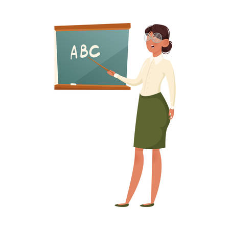 A school teacher in glasses explaining the formula. Vector illustration isolated on white background