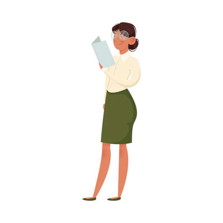School female teacher in glasses and green skirt holds the booklet. Education and learning concept. Isolated vector icon illustration on white background in cartoon style.