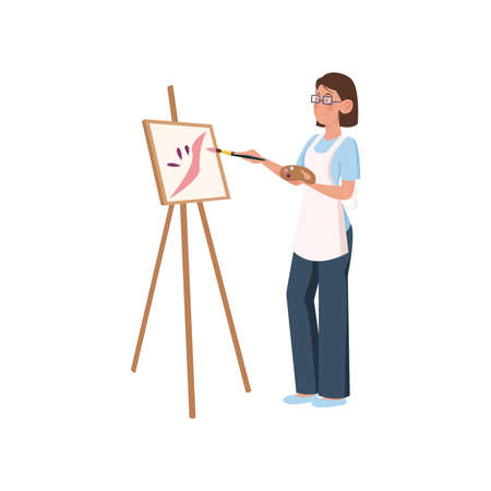 La artista con delantal blanco y gafas pinta objetos en el lienzo con un pincel. Ilustración de icono de vector aislado sobre fondo blanco en estilo de dibujos animados.