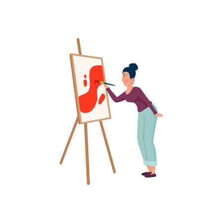 The artist in purple shirt paints on canvas with a brush. Vector illustration on a white background.