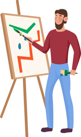 Bearded artist in a red shirt and blue pants paint on the easel. Vector illustration on a white background.