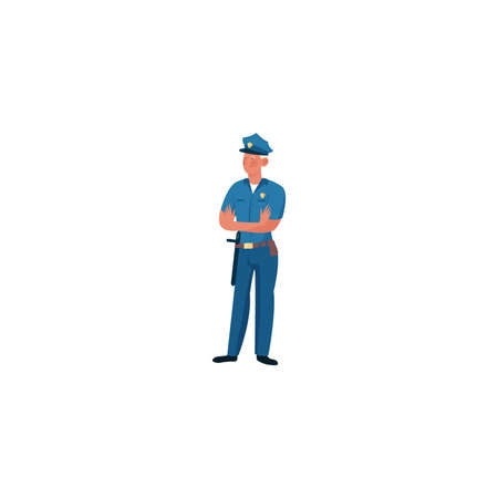 Smiling policeman character in dark blue pants, dark blue shirt standing cross-armed. Isolated vector icon illustration on white background in cartoon style. Иллюстрация