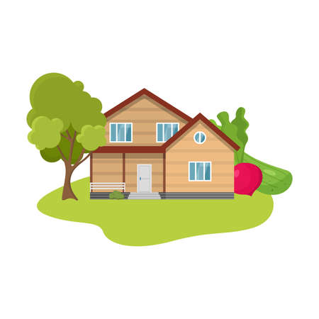Country house surrounded by trees and local produce vector illustration