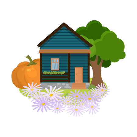 Country house surrounded by trees, flowers, local produce vector illustration Illusztráció