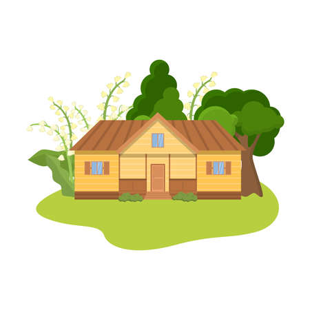 Countryhouse surrounded by lily of the valley flowers vector illustration Illustration