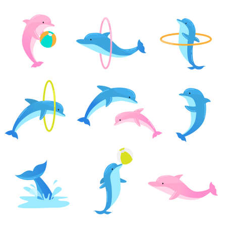 Collection set of cute blue dolphins performing tricks with ring and ball for an entertainment show in a dolphinarium. Colorful vector flat isolated icons set on white background.