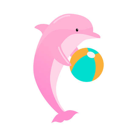 Pink dolphin with a ball. Vector illustration isolated on white background