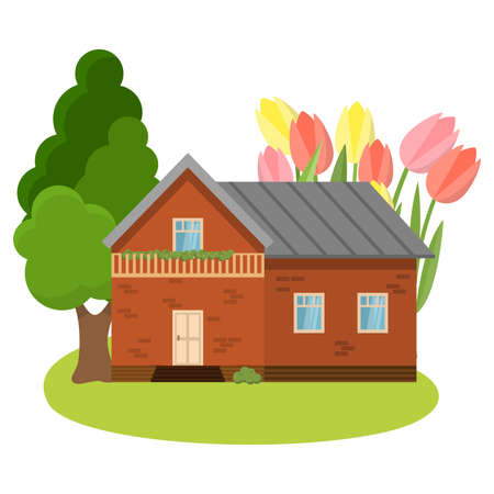 Country house surrounded by garden with blooming tulips vector illustration Иллюстрация