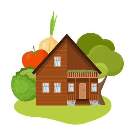 Wooden country house with trees and local produce vector illustration
