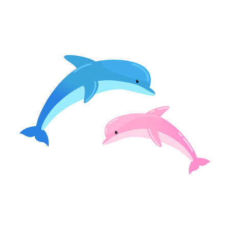 Two jumping dolphins. Vector illustration isolated on white background Illustration