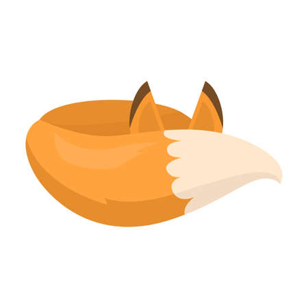 Cute fox sleeps tail covering her face. Vector illustration isolated on white background Иллюстрация