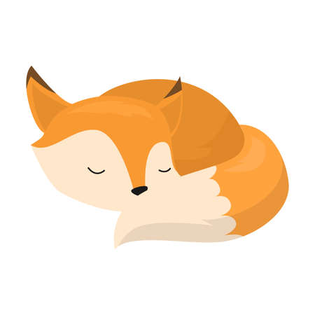 Cute fox sleeping. Vector illustration isolated on white background