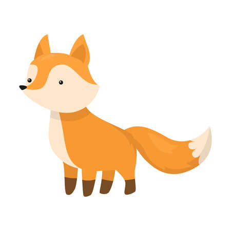 Cute fox is standing on four legs. Vector illustration isolated on white background