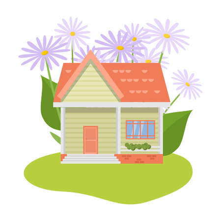 Country house surrounded by garden and violet flowers vector illustration Иллюстрация