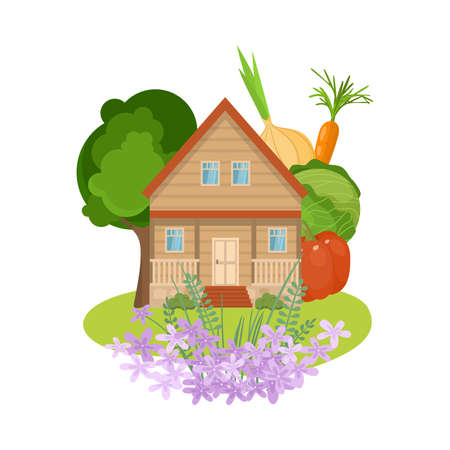 Country house with flowers and local produce vector illustration