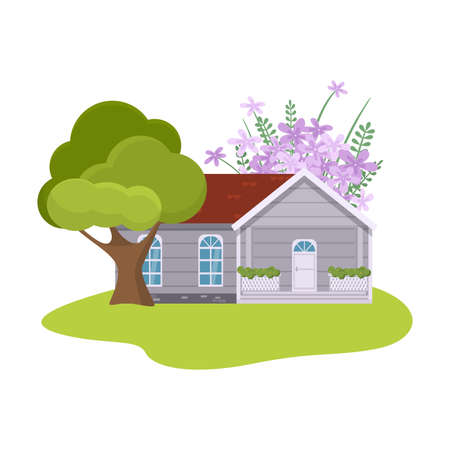 Country house surrounded by garden with blooming trees vector illustration Иллюстрация