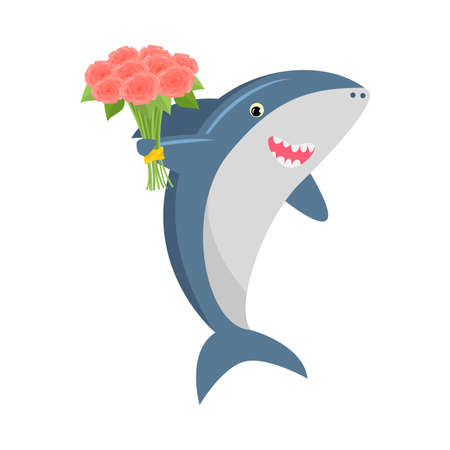 Cute shark with a bouquet of flowers Vector illustration isolated on white background