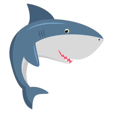 Cute friendly toothy blue shark. Vector illustration isolated on white background