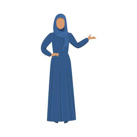 Muchacha musulmana en un hijab azul étnico tradicional. Ilustración de vector de estilo de dibujos animados plana.