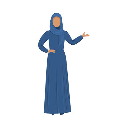 Muslim girl in a traditional ethnic blue hijab. Vector illustration in flat cartoon style.