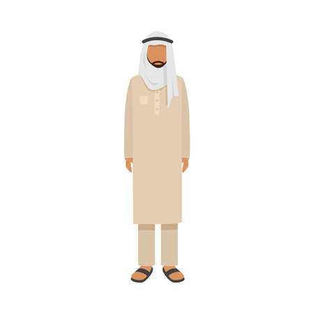 Arab man in traditional ethnic wear. Vector illustration in flat cartoon style