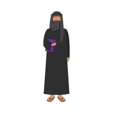 Arab man in traditional ethnic black wear holding a book. Vector illustration in flat cartoon style Vettoriali