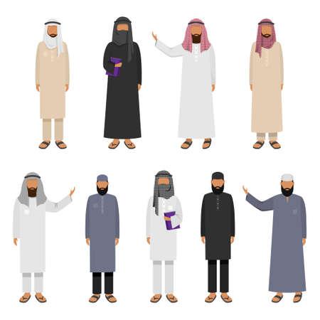 Un insieme di uomini arabi che indossano abiti tradizionali. Illustrazione vettoriale in stile cartone animato piatto.