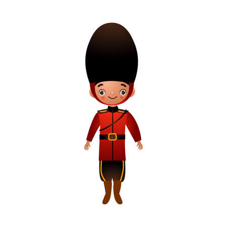 Beefeater English soldier in traditional red clothes with long black hat. Vector illustration in flat cartoon style Stock Illustratie