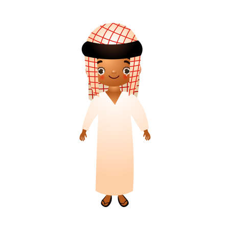 Sceicco arabo del ragazzo in bianco etnico tradizionale che indossa con kefia. Illustrazione vettoriale in stile cartone animato piatto