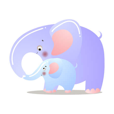 The cute elephant is standing with a baby. Vector illustration isolated on white background