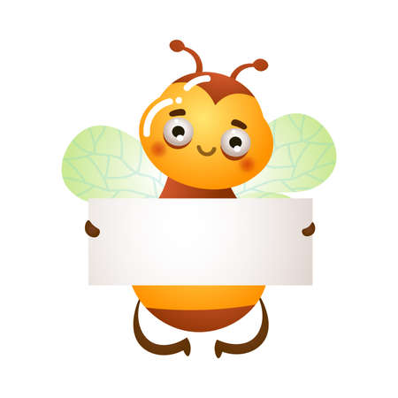 Bee flying and holding paper blank vector illustration